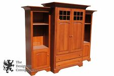 traditional amish made cherry tv cabinet w side bookcases media storage glass