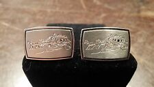 VINTAGE HICKOK SILVER GOLD TONE HORSE DRAWN STAGECOACH CUFFLINKS FREE SHIPPING