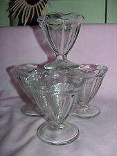 "Vintage Set Of 4 Ice Cream Sundae Dessert Tulip Glasses Thick Glass 4"""