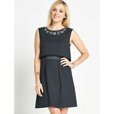 FEARNE COTTON LADIES GREY DOUBLE LAYER EMBELLISHED NECK DRESS SIZE UK 12 NEW
