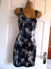 """FULLY SEQUINED OCCASION MINI DRESS IN NAVY/SILVER/BLACK UK-10 BUST 34"""" HIP 36"""""""