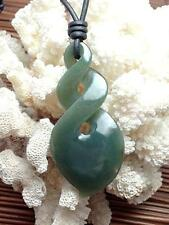Jade Maori Pointed Triple Twist Leather Tribal Surfer Surf Necklace