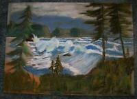 VINTAGE PASTEL PAINTING OREGON COAST NAUTICAL OCEAN EVERGREENS FOLK ART NAIVE