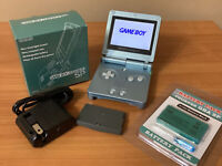 Nintendo GameBoy Advance SP Pearl Blue AGS-101 GBA System Bundle in Box | MINT