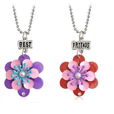Friendship Two red purple Flowers Fashion Pendant Necklaces Gift for Friend N545