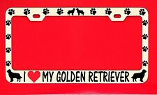 I Love My Golden Retriever License Plate Frame Tag Dog Paw Weatherproof Vinyl