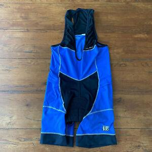 De Soto Mens Large Triathlon Bibshorts Cycling Compression Shorts Bib L Blue