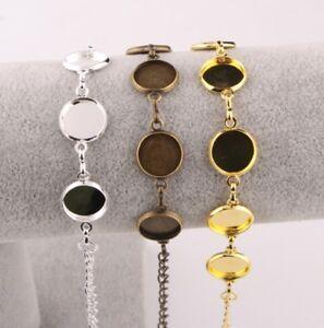 5 Sizes Round Cabochon Bracelet Base Setting Jewellery Blank Chain Bezel DIY UK