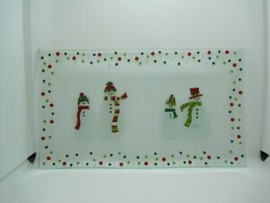 New In Box Pampered Chef Snowmen-Dots Divided Glass Platter #3012