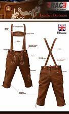 Mens Bavarian LEDERHOSEN Cowhide Brown Leather  with Matching Suspenders Shorts