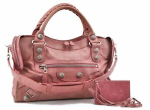 Authentic BALENCIAGA Giant City 2Way Shoulder Hand Bag Leather Pink C8490