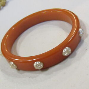 Mid 1930's BAKELITE Bangle Bracelet Studded Orange Tested 22.5 Grams **REPAIR**