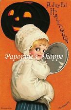 Fabric Block Vintage Halloween 8.5 x 11 Jack O Lantern Cupie Ellen Clapsaddle