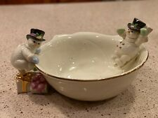 Lenox The Snowman Bowl Christmas Fine Porcelain Sculpture Snowflakes Swirl 2001