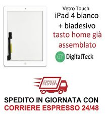VETRO TOUCH SCREEN per Apple iPad 4 WiFi e 3G MOD. A1458 A1459 A1460 BIANCO