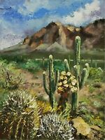 YARY DLUHOS ORIGINAL OIL PAINTING High Desert Landscape Saguaro Cactus Mountains