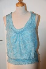 Original RIVER WOODS  Top  Col châle  100% soie  - blanc turquoise 36 neuf