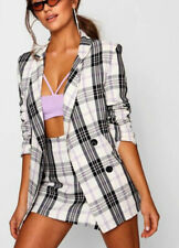 Made In Italy Tartan Check Double Breasted Blazer Jacket- Size 10