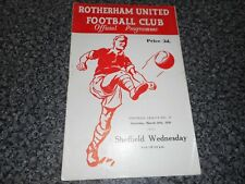 ROTHERHAM UNITED  v  SHEFFIELD WEDNESDAY  1955/6 ~ MARCH 10th ' DERBY ' FREEPOST