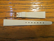 2 New Old Stock LeJour Watch Leather Band Off White 15Mm Lizard Embossed Pattern