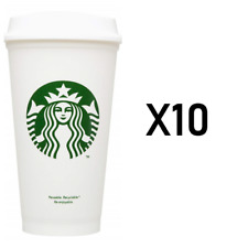STARBUCKS Reusable Cups Recyclable Grande 16 oz Plastic Pack of 10