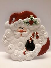 """Fitz & Floyd """"Yuletide Holiday"""" Santa Face Canape Plate 2003 10 1/4""""H"""