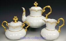LOVELY BAVARIA GOLD PAINTED TEA POT CREAMER SUGAR SET ORNATE MOLDING SIGNED