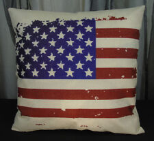 USA Flag Patriotic Red Blue Throw Accent Pillow Case Cover Cotton Linen Canvas