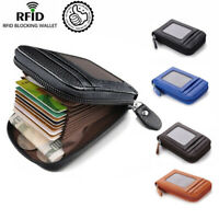 Men's Wallet Real Leather Credit Card Holder RFID Blocking Zipper Thin Pocket FA
