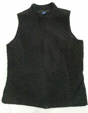Basic Editions Black Quilted Corduroy Zip Up Vest Ladies Size Large