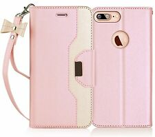 iPhone 7 Plus Wallet Case,FYY RFID Blocking Makeup Mirror Leather Bow-knot Strap