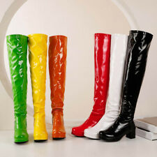Plus Size 34-48 Women Chunky Heel Zip Up Patent Leather Over The Knee High Boots