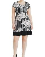 Connected Apparel Jersey Floral And Striped Plus Size Fit And Flare Dress 18W