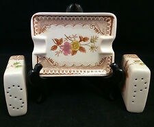 Floral Salt & Pepper Shaker Set with Matching Ashtray