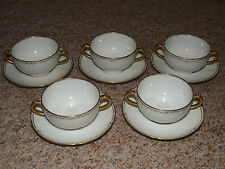 Haviland Limoges Schleiger 182 White with Gold 5 Bouillon Cup & Saucers Sets