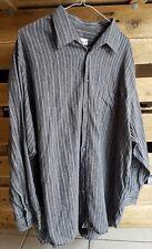 Vintage Mens 70s Grey&White Striped Herringbone Weave Shirt XXL Cotton/Flannel