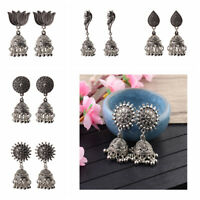 Women's Silver Antique Ethnic Small Bell Drop Indian Bollywood Earrings jhumka