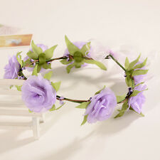 Purple Boho Floral Flower Womens Bride Hairband Head Band Wedding Party Garland