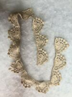 Antique Crochet Lace 1920s Cream Silk Fabric Textiles Vintage Retro Embroidery
