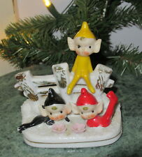 1950s Vintage Ceramic Christmas ELVES / PIXIES~Group of THREE!~Made in JAPAN