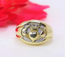 Vintage Men's 10K Yellow & White Gold Claddagh Ring w/ .05 CTW Diamond Accents