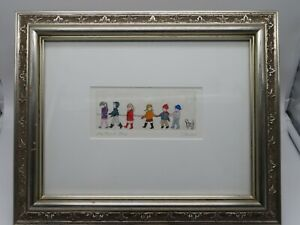 Pencil water color 13x11 art Titled THE FIELD TRIP signed and framed under glass