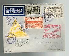 1935 Duinbergen Belgium Rocket Mail Cover w/ Cinderella Imperfs Roberti Signed 3