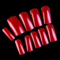 500P French UV Acrylic Artificial Solid Full False Nail Care Art Tips Red Color