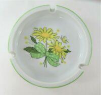 Vintage 1970's Ceramic Ashtray with Yellow Daisies