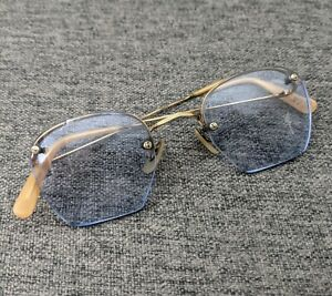 Vintage Algha Gold Plated Semi Rimless Eyeglasses Spectacles
