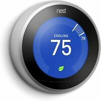 Nest 3rd Generation Learning Stainless Steel Programmable Thermostat: NO BASE  E