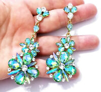 Green AB Rhinestone Earrings, Pageant Stage Jewelry, Chandelier Drop 3.4 inch