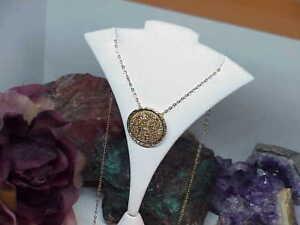 14k Gold QVC Round Gold Drusy Quartz Sculpted Pendant w/Chain Necklace New w/Box