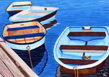 CAPE COD Brown & Blue Rowboats Matted Print,  Seascape